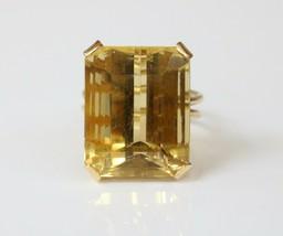 Vintage 18K Gold and 26 Carat Citrine Cocktail Dinner Ring - $985.05