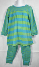 Girls BOUTIQUE HANNA ANDERSSON BLUE GREEN OPPOSITE STRIPES Dress Legging... - $29.69
