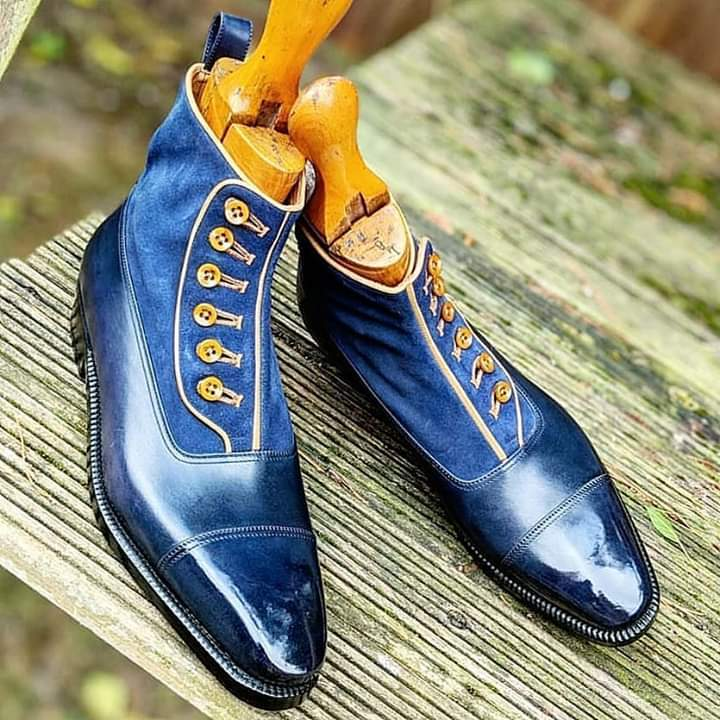 Primary image for Handmade Men's Blue Buttoned Chelsea Leather Dress Custom Made Formal Boots