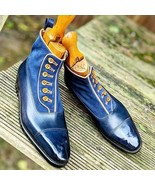 Handmade Men's Blue Buttoned Chelsea Leather Dress Custom Made Formal Boots - $179.99+