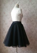 Black Tulle Midi Skirt Women A-line Black Midi Skirt Knee Length Black Skirts image 4