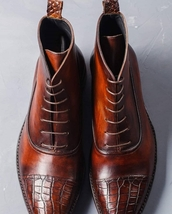 Handmade Men's Brown High Ankle Lace Up Crocodile Two Tone Leather Boots image 3