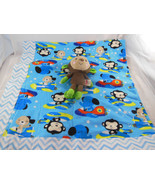 2 layer blue cotton flannel Flying animals baby blanket + Fisher price ... - $19.79
