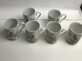 Set of 6 Footed Bird Motif Coffee Mugs Gold Trim Royal Crown Japan Disco... - $29.70