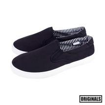 Black Canvas Shoes Men's Slip On Casual Sneakers Kicks Originals Lowtop Footwear - $19.01 CAD