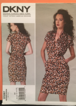 Vogue V1287 DKNY Mock Wrap Dress w Blouson Bodice and Skirt & Pockets Si... - $15.00