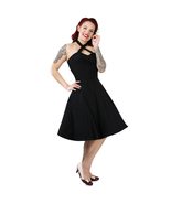 Cute Rockabilly 50s Retro Black Criss Cross Halter Swing Dress Vintage P... - $75.68