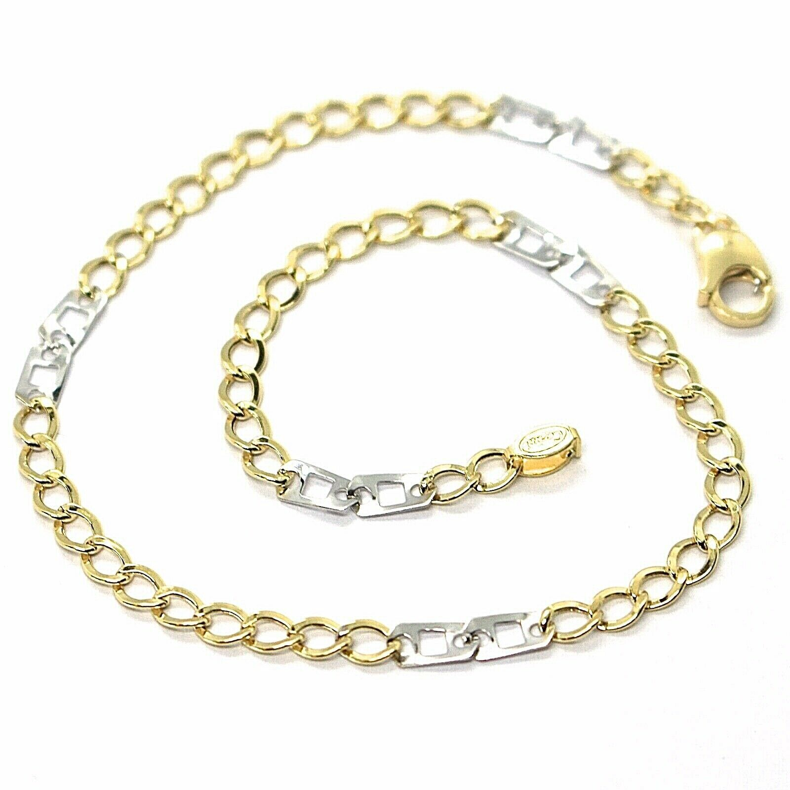 18K YELLOW WHITE GOLD BRACELET 3 MM, 7.9 INCHES, ALTERNATE GOURMETTE AND SQUARE
