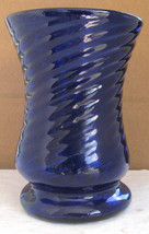 Vintage Cobalt Blue Hand Blown Swirl Design Table Glass with Pontil Base... - $16.99