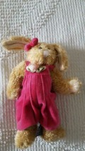 "Small 7"" Plush Boyds Bears Bunny Rabbit, Pink Velvet Overalls, Retired 1995, - $6.05"
