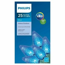 New ! Philips 25ct. LED Faceted C9 String Lights - Blue Bulbs Green Wire D2 NEW