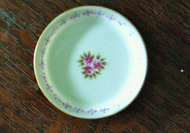 "MINI ANDREA JAPAN DOLL SIZE PLATE 3.5"" BOTTOM LABEL Pretty Pink Floral P... - $3.95"
