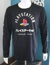 Playstation Japan 1994 Logo Front Men's Black Graphic T-Shirt Long Sleeves - $25.49