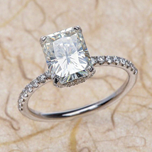 14k White Gold Plated Solitaire With Accents Ring Rectangular Shape Sim ... - $65.81