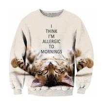 Lazy Cute Kitty Cat Crewneck Sweatshirt - $36.58