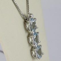 Halskette Weißgold 750 - 18K, Trilogie Aquamarin Oval Karat 2.50 und Diamant image 2