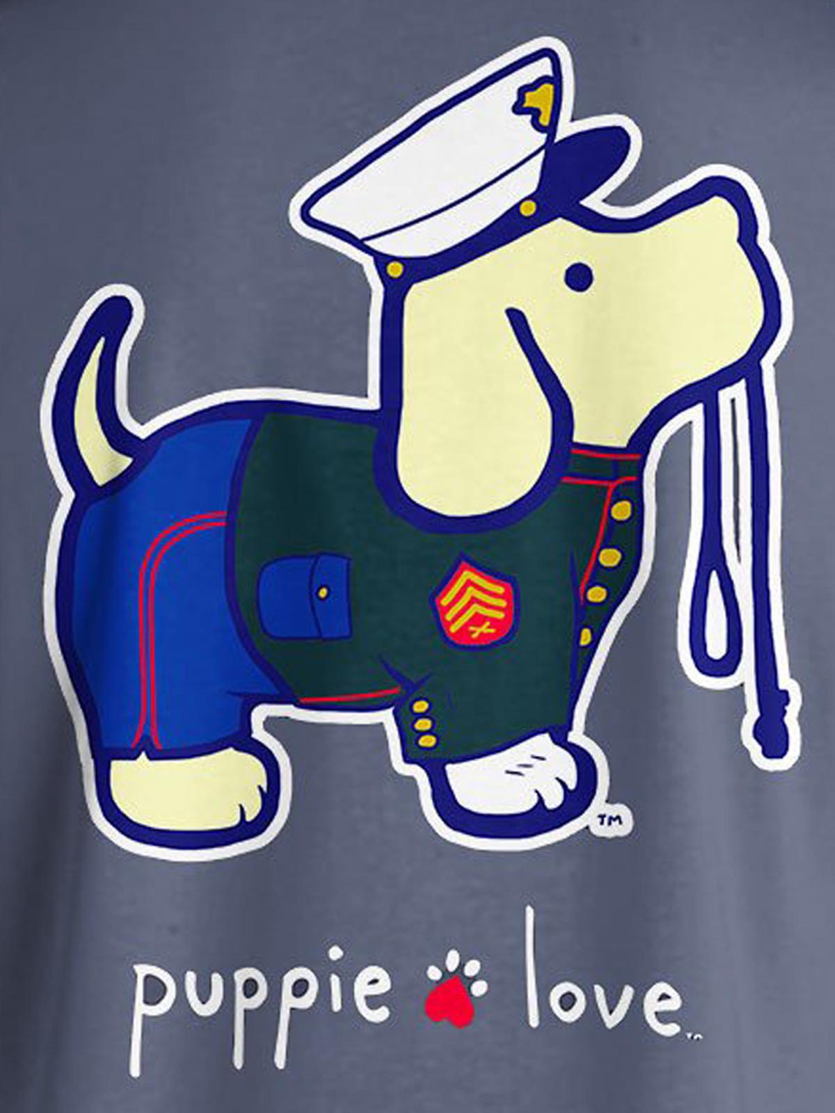 Puppie Love Rescue Dog Adult Unisex Short Sleeve Graphic T-Shirt, Marine Pup