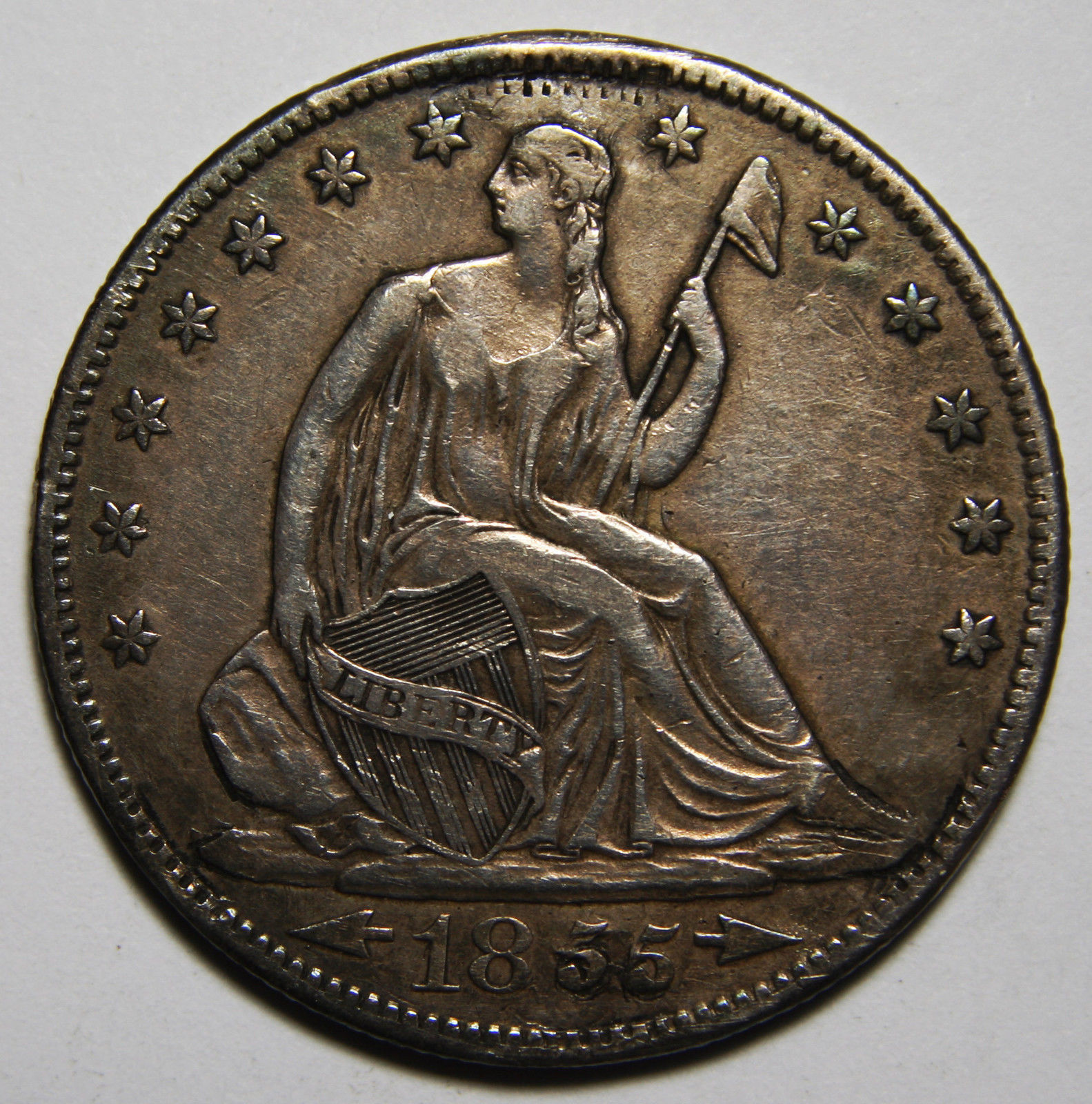 1855S Seated Silver Liberty Half Dollar 50¢ Coin Lot# MZ 3915