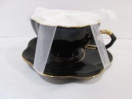GRACE'S TEAWARE HALLOWEEN BLACK GOLD TEA CUP & SAUCER - $21.99