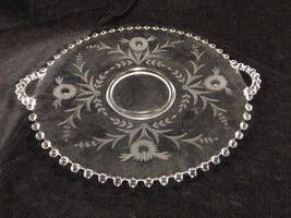 Candlewick Clear Glass Serving Platter With Etched Flower Design And Han... - $49.99