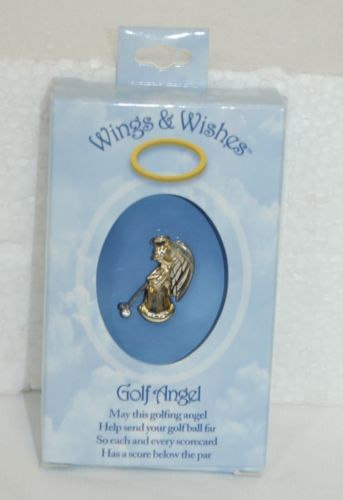 DM Merchandising Wings Wishes Golf Angel Gold Silver Colored Holding Club