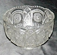 Heavy Etched Cut Glass Bowl AA20-CD0078 Vintage