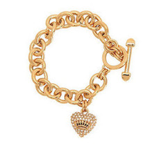 Juicy Couture Link Bracelet Pave Crown Heart NEW $58 - $25.56