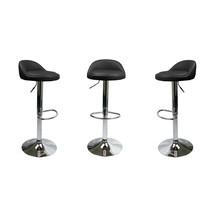Set Of 2 Black Leather Bar Stools Swivel Dinning Counter Adjustable Heig... - £225.79 GBP