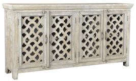 "80"" L Open Cut Out Pattern 4 Doors Ivory Sideboard/Buffet Solid Hard Woo... - $1,579.05"