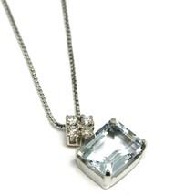 Halskette Weißgold 750 - 18k, Anhänger Aquamarin Schliff Smaragd und Diamanten image 2