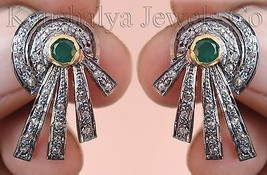 Victorian 1.51ct Rose Cut Diamond Emerald Women's Earrings Christmas Wed... - $533.09