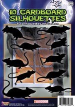 Silhouette Shadow Rats 10pc , Halloween Party Accessory Prop/Room Decora... - $2.52