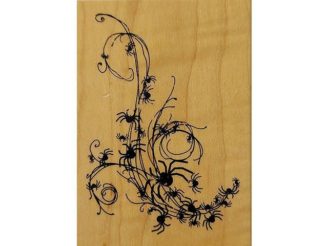 Inkadinkado-Wood Mounted Rubber Stamp-Spiders #98696