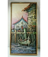 Original Oil Painting on canvas boat & harbor signed  - $100.00