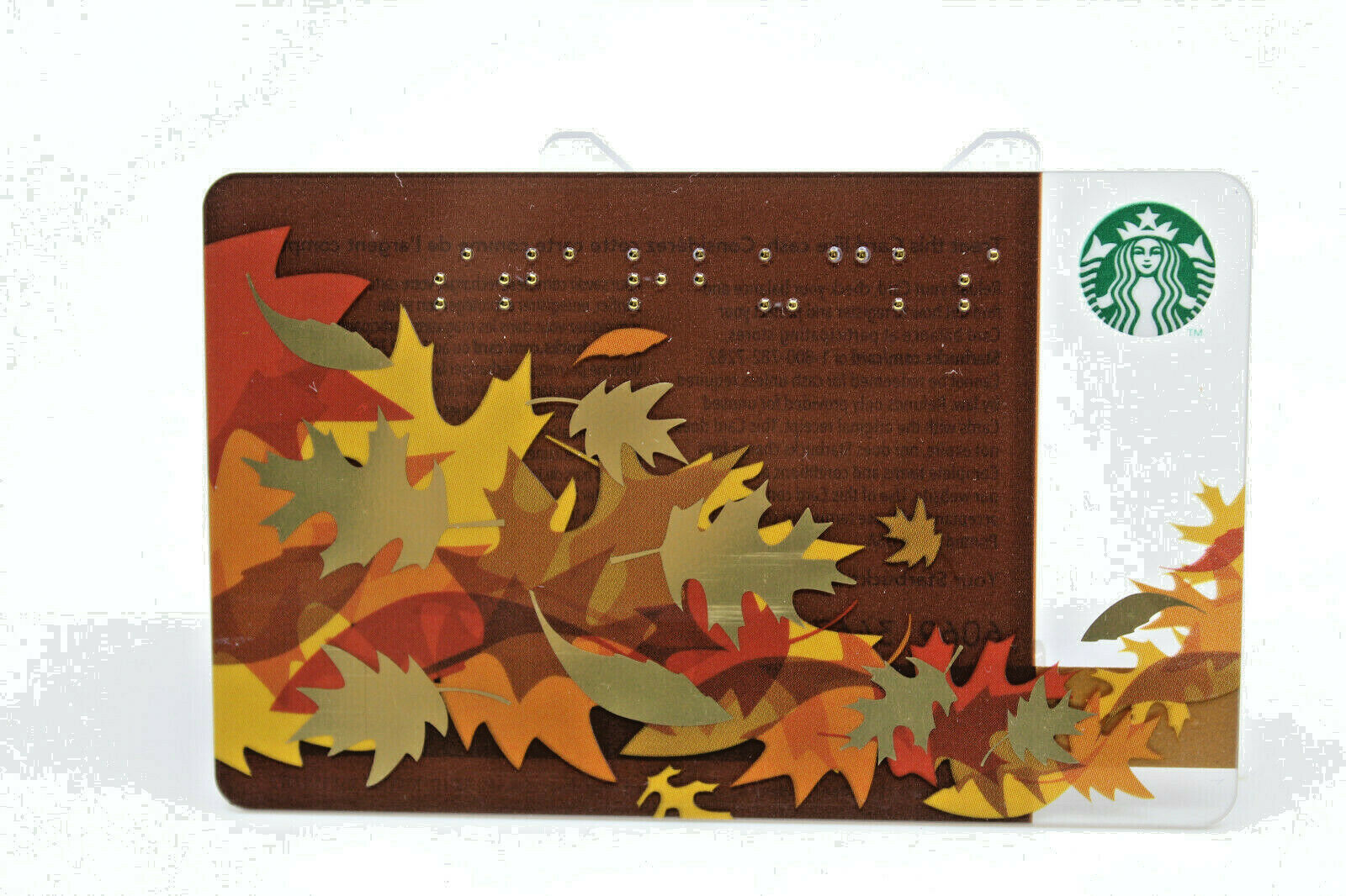 Primary image for Starbucks Coffee 2011 Gift Card Leaves Fall Brown Gold Braille Zero Balance