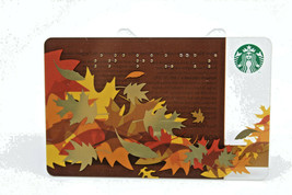 Starbucks Coffee 2011 Gift Card Leaves Fall Brown Gold Braille Zero Balance - $12.02