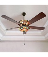River of Goods Tiffany Style Stained Glass Halston 52 in. Ceiling Fan - ... - $325.00