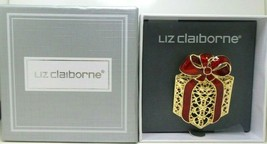 Liz Claiborne Red Gold Christmas Bow Package Present Surprise Brooch Jewelry NIB - $19.99