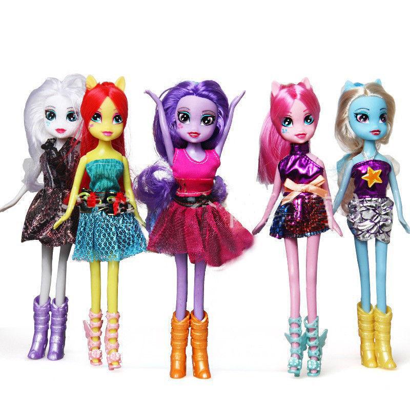 My Little Pony Equestria Girls Doll Twilight Sparkle Dash Rarity Fluttershy 5pcs for sale  USA
