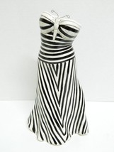 """10"""" Diane Artware """"HAPPY CLOTHES"""" Butterfly Striped Dress Vase Black Whi... - $23.03"""