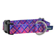 2Hounds Collar with Leash Large Neon Sunrise Pink Plaid NEW! image 1