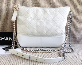AUTHENTIC AUTH CHANEL 2017 LIMITED EDITION RUNWAY LARGE GRABEIELE BAG WHITE GHW