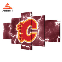 5 Piece HD Printed Calgary Flames Wall Pictures Home Decor Canvas Painting - $45.99+
