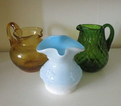 3 VTG GLASS PITCHERS JUGS MILK KANAWHA, PILGRIM AMBER CRACKLE, Green Dia... - $18.52
