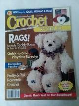 Crochet World February 2002 Rags Patriotic Pins Teddy Bear Romantic 20 Projects - $7.91