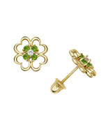 Leaf Clover Heart Shape Open Flower Peridot Child Stud Earrings 14K Whit... - £65.69 GBP