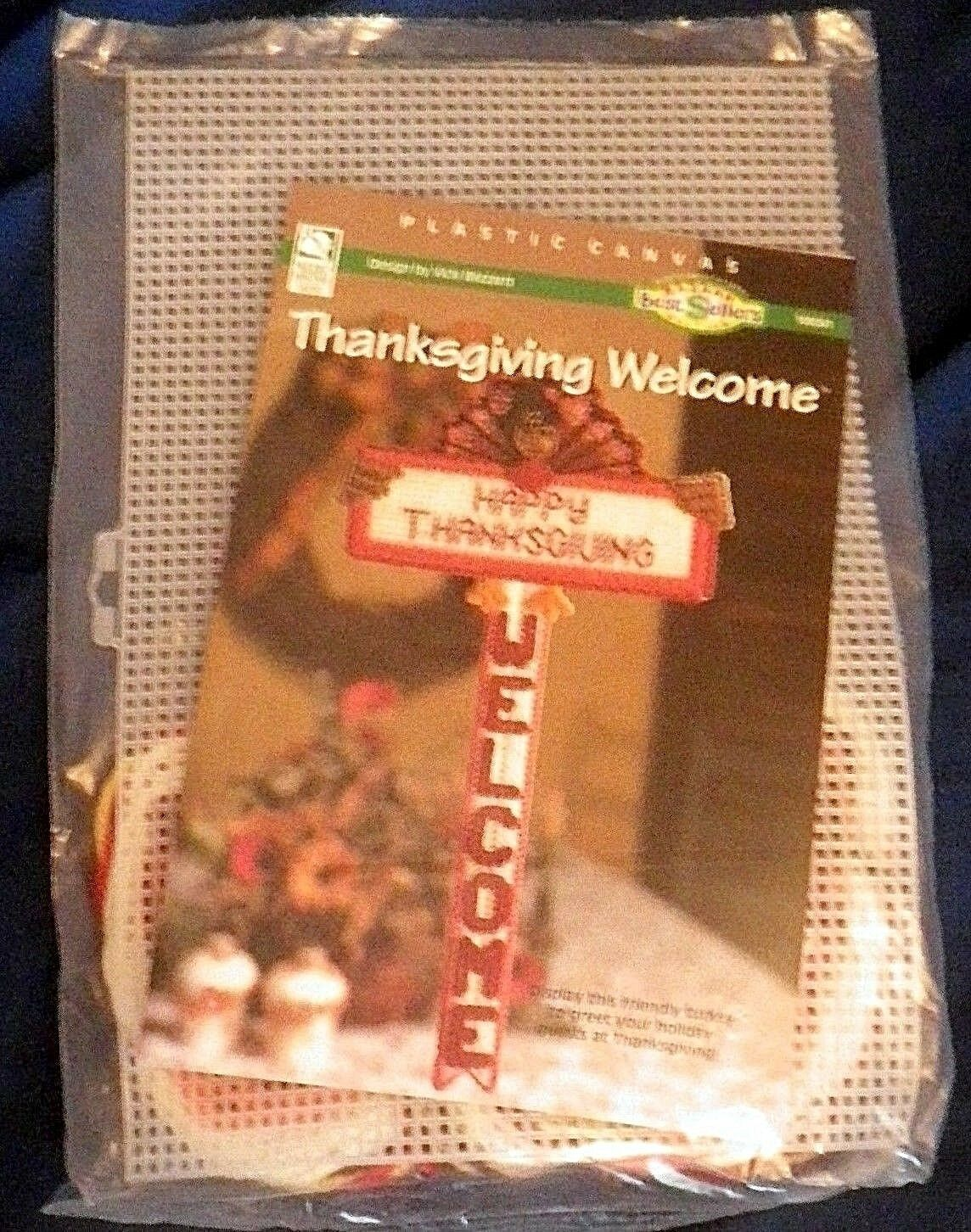 Happy Thanksgiving Welcome Plastic Canvas Kit Turkey Sign House of White Birches - $29.99