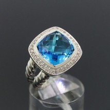 David Yurman Sterling Silver Albion Ring 11mm with Blue Topaz and Diamonds Sz 8 - $424.71