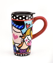 Romero Britto 16 oz Man Kissing Woman Travel Mug w Black Lid NEW