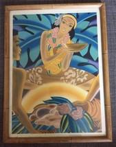 Frank McIntosh Vintage Bamboo Frame Hawaiian Hula Girl Art Deco Polynesi... - $70.13